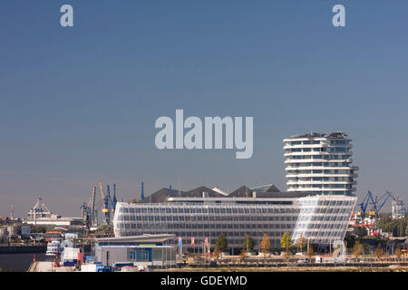 Marco Polo Tower and Unilever House, HafenCity, Hamburg, Germany, Europe - Stock Photo