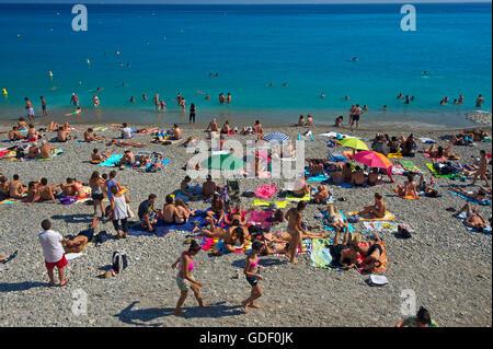 Strand von Nizza, Cote d?Azur, Alpes-Maritimes, Provence-Alpes-Cote d'Azur, Frankreich - Stock Photo