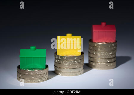 House / housing / property price inflation concept. Colorful toy houses placed on stacks of pound coins on neutral - Stock Photo