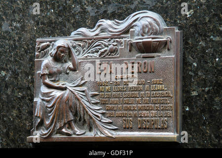 Cementario de la Recoleta (cemetary Recoleta) Tomb of Eva Duarte de Peron, Buenos Aires, Argentina - Stock Photo