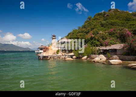 Small bungalow resort Ngoc Suong, in Cam Ranh Bay, Nha Trang, Vietnam - Stock Photo
