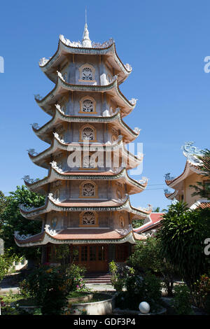 Pagoda tower, Dieu An Pagoda, Thap Cham, Phan Rang, Ninh Thuan, Vietnam - Stock Photo
