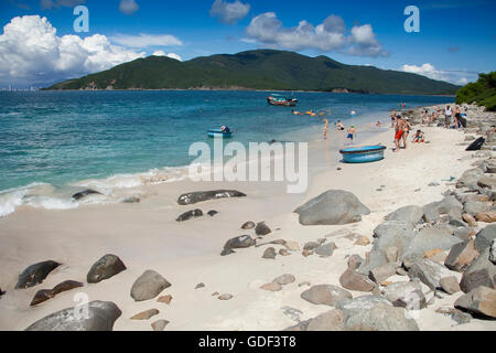 Beach, island of Hon Mun, Nha Trang Bay, South China Sea, Nha Trang, Vietnam - Stock Photo