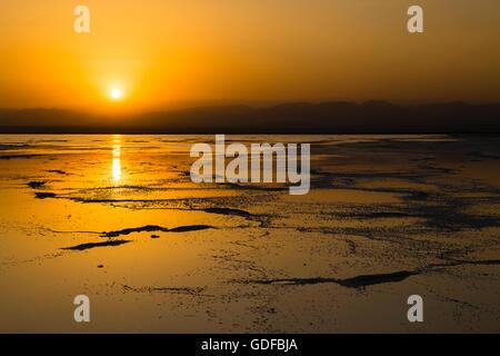 Sunset over the Lake Assal, near Dallol, Danakil Depression, Afar Triangle, Ethiopia - Stock Photo