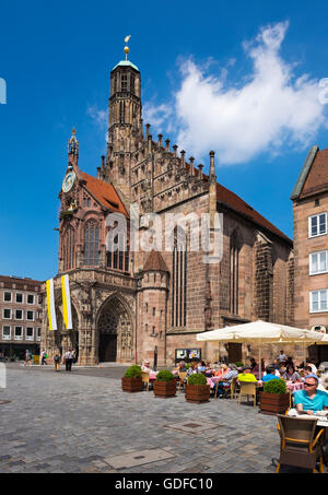 Frauenkirche, Church of Our Lady, Main Market, historic centre of Sebald, Nuremberg, Middle Franconia, Franconia, - Stock Photo