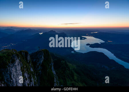 Sankt Gilgen: view from mount Schafberg to lake Mondsee, wall Drachenwand, sunset, Austria, Salzburg, Salzkammergut - Stock Photo