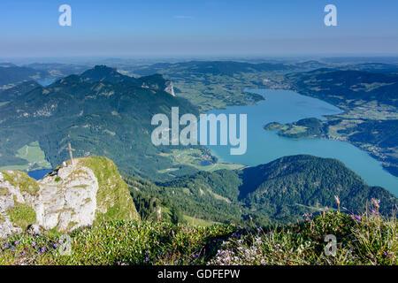 Sankt Gilgen: view from mount Schafberg to lake Mondsee, wall Drachenwand, Austria, Salzburg, Salzkammergut - Stock Photo