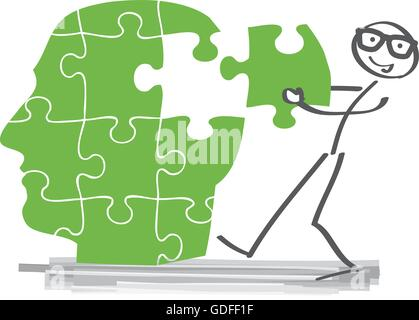 Creative puzzle-brain Idea concept - Stock Photo