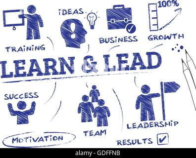Learn and Lead. Chart with keywords and icons - Stock Photo