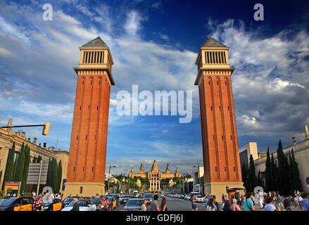 The Torres Venecianes ('Venetian Towers') at Avinguda de la Reina Maria Cristina, Barcelona, Catalonia, Spain.