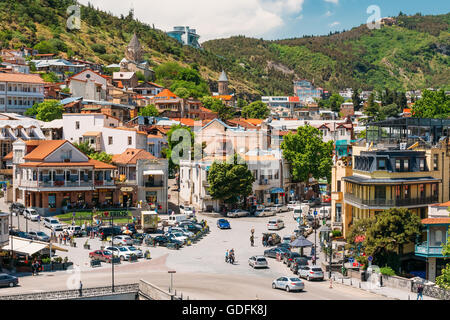 Tbilisi, Georgia - May 19, 2016: Scenic View Of Tbilisi Old Town, Georgia. Historic District - Stock Photo