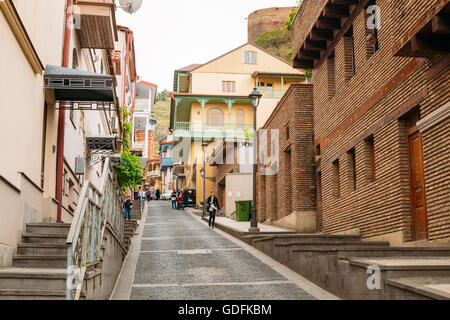 Tbilisi, Georgia - May 19, 2016: Residential area located on a hill in Tbilisi, Georgia. - Stock Photo