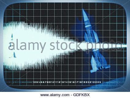 Top secret rocket mission area 51 monitor scope photo illustration - Stock Photo
