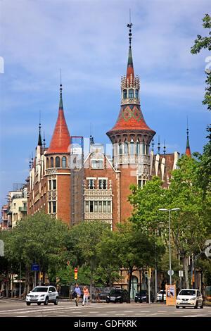 The Casa Terrades ('Casa de les Punxes') by architect Josep Puig i Cadafalch, at Avinguda Diagonal, Barcelona, Catalonia, Spain.