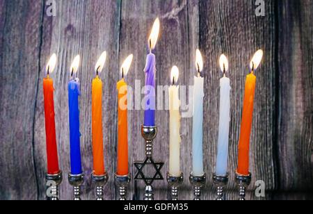 Hanukkah menorah with candles Hanukkah candles happy burning - Stock Photo
