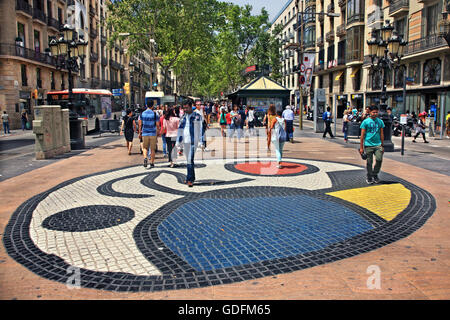 A 'mosaic' by Joan Miro at La Ramba, the most famous street of Barcelona Catalonia, Spain - Stock Photo