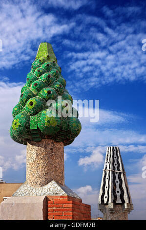 Peculiar 'garden' on the roof of Palau Guell (architect Antoni Gaudi), Raval, Barcelona, Catalonia, Spain. - Stock Photo