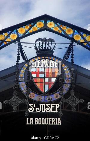 The entrance of he Boqueria ('Mercat de Sant Josep'), the famous market next to the Rambla of Barcelona, Catalonia, - Stock Photo