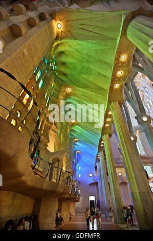 Inside the Sagrada Familia, the masterpiece of architect Antoni Gaudi and 'trademark' of Barcelona, Catalonia, Spain. - Stock Photo