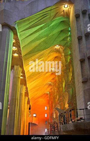 Inside the Sagrada Familia, the masterpiece of architect Antoni Gaudi and 'trademark' of Barcelona, Catalonia, Spain. Stock Photo