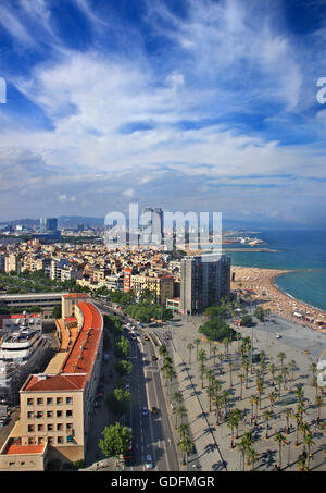 The Barceloneta Barcelona, Catalunya, Spain. View from the Torre de St. Sebastia - Miramar (Montjuic) cable car - Stock Photo