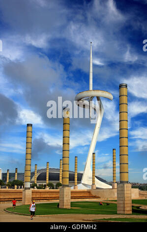 The Montjuic Communications Tower (also known as 'Calatrava Tower') in the Olympic Ring of Barcelona, Catalonia, - Stock Photo