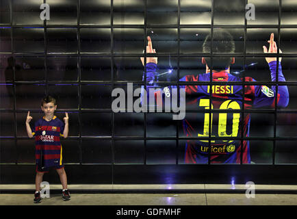 Next generation 'Messi' in the FC Barcelona museum, Barcelona, Spain. - Stock Photo