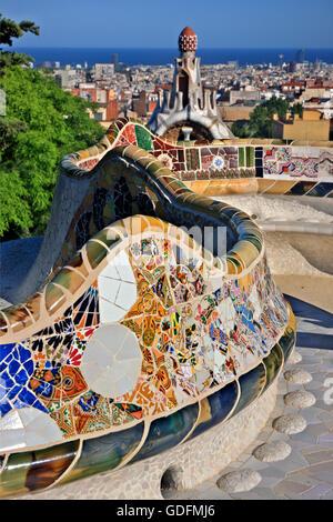 The 'Plaça de la Natura' ('Nature Square') in ParK Guell (by Antoni Gaudi), Barcelona, Catalonia, Spain - Stock Photo