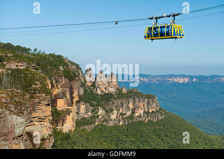 Scenic Skyway in front of the Three Sisters in Blue Mountains National Park. - Stock Photo