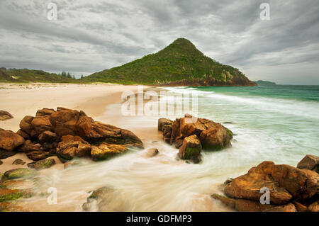 Zenith Beach and Tomaree Head in Tomaree National Park. - Stock Photo