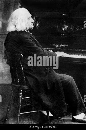 Franz Liszt. Portrait of the Hungarian pianist and composer, Franz Liszt (1811-1886) playing the piano. Photo from - Stock Photo