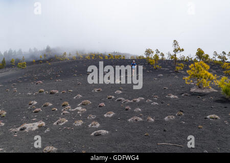Young man running in volcanic landscape with foggy background, La Palma, Spain - Stock Photo