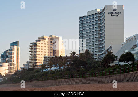 DURBAN, SOUTH AFRICA - July 11, 2016: Hotels and apartment buildings along the promenade at the Umhlanga Rocks beachfront - Stock Photo