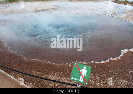 Iceland, Northern Europe: a hot spring in the Geyser area, home to the geysers, periodically spouting hot springs - Stock Photo
