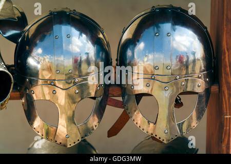 Warriors helmet, viking style - Stock Photo