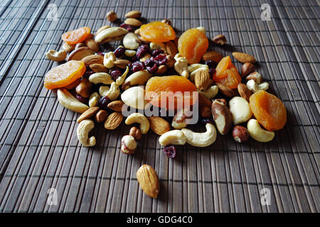 Mixed raw nuts and dried fruits - Stock Photo