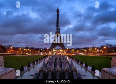 Eiffel Tower at Sunrise with clouds from Trocadero, Paris, France (listed as World Heritage site by UNESCO) - Stock Photo