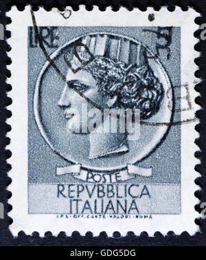 ITALY - CIRCA 1968: A stamp printed in Italy shows an Ancient coin of Syracuse, without inscription, circa 1968 - Stock Photo