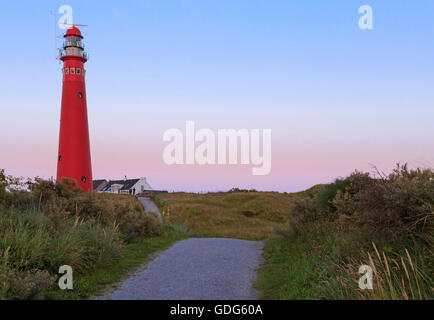 Noordertoren Lighthouse at dusk, on Schiermonnikoog, one of the West Frisian islands in the Wadden Sea, Friesland, - Stock Photo