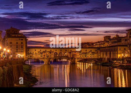 Ponte Vecchio (the 'old bridge') from the Ponte alle Grazie, Florence (Firenze), Italy - Stock Photo