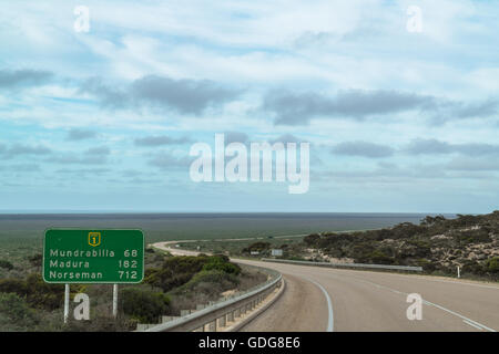 Eyre Highway on the Nullarbor plain in Western Australia - Australia - Stock Photo