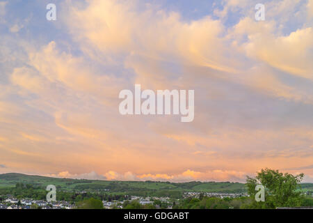 An evening view over Kendal looking across the valley. - Stock Photo
