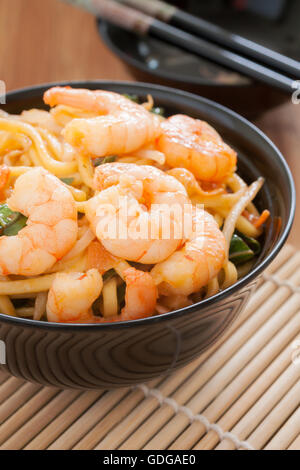 Prawn Chow Mein stir fried prawns with egg noodles and bean sprouts - Stock Photo