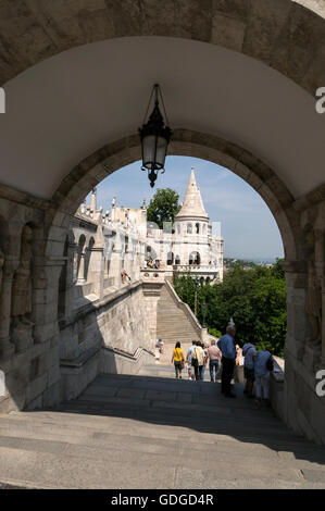 A flight of steps leading up to the Fisherman's Bastion. It  is a terrace in neo-Gothic and neo-Romanesque style - Stock Photo