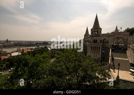 Two of the seven towers at  Fisherman's Bastion terrace in neo-Gothic and neo-Romanesque style. It offers panorama - Stock Photo