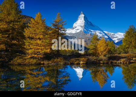 Matterhorn and Grindjisee,Valais,Switzerland - Stock Photo