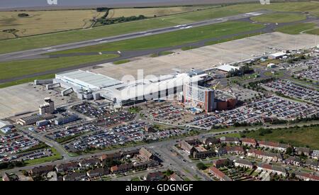 aerial view of Liverpool John Lennon Airport, UK - Stock Photo