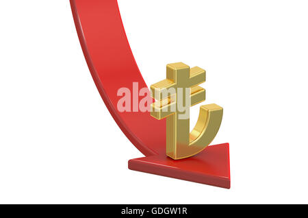 Falling red arrow with symbol of Turkish Lira, crisis concept. 3D rendering isolated on white background - Stock Photo