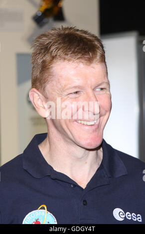 'Astronaut Tim Peake, visiting the Space Zone, Farnborough Air Show 2016 after his time on the ISS. - Stock Photo