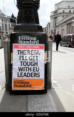 Evening Standard newspaper poster  'Theresa: I'll Get Tough With EU Leaders' sign near Bank of England London UK - Stock Photo
